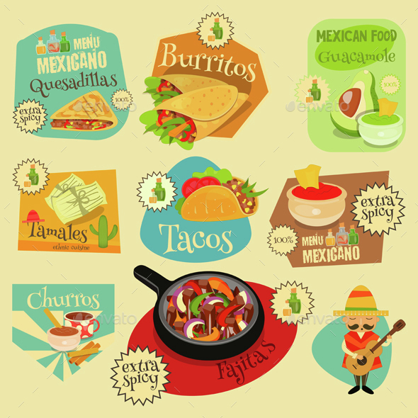 Mexican Food Labels Set - Food Objects