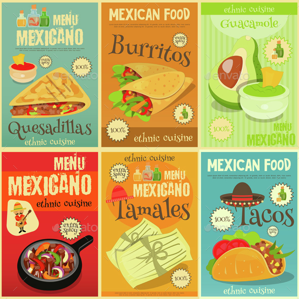 Mexican Food Mini Posters Set - Food Objects
