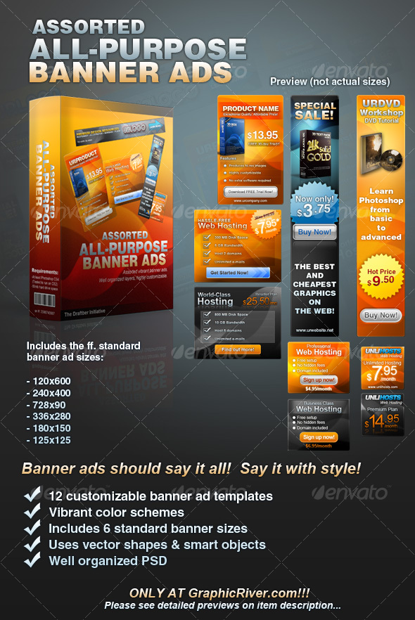 Assorted AllPurpose Banner Ad Templates Vol By Crisdenopol - Display ad templates
