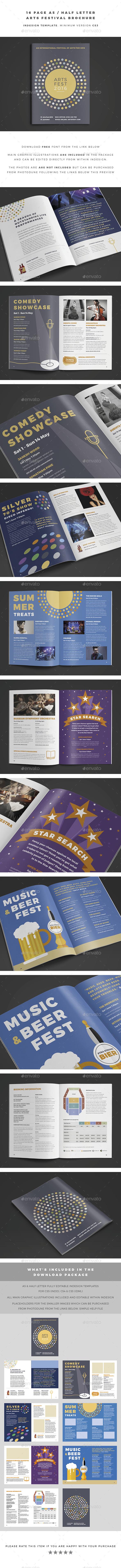 A5 / Half Letter Arts Festival Brochure - Brochures Print Templates