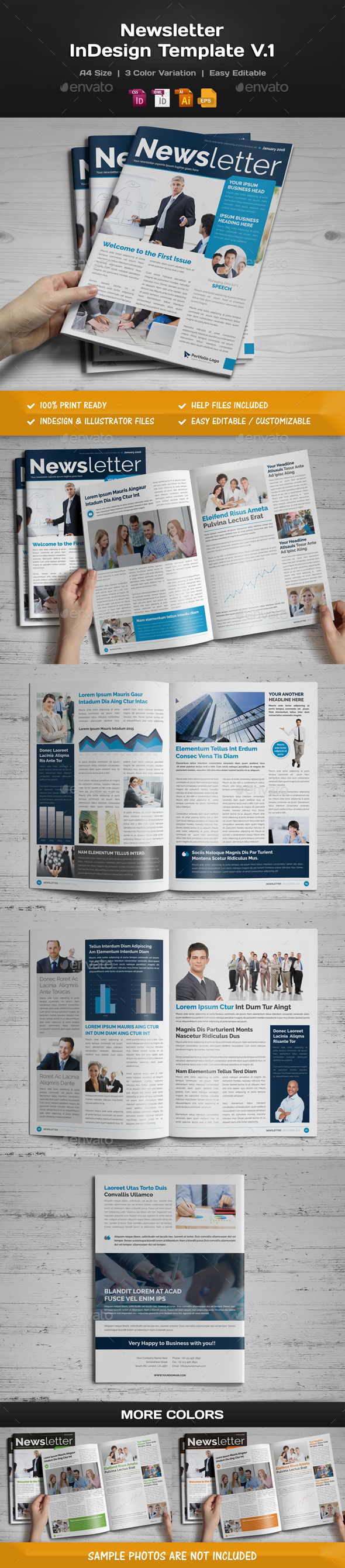 Newsletter Indesign Template v1 - Newsletters Print Templates