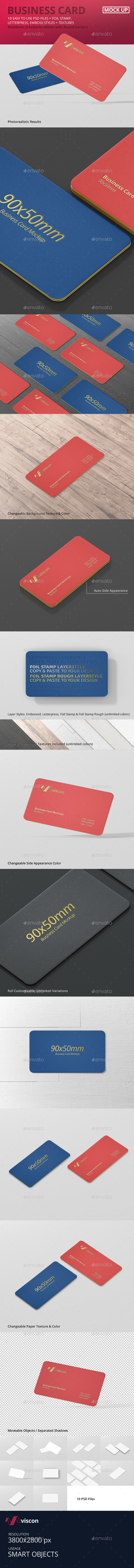 Business Card Mockup Round Corner - Business Cards Print