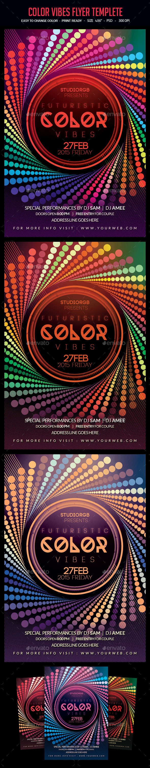 Color Vibes Flyer Template - Clubs & Parties Events
