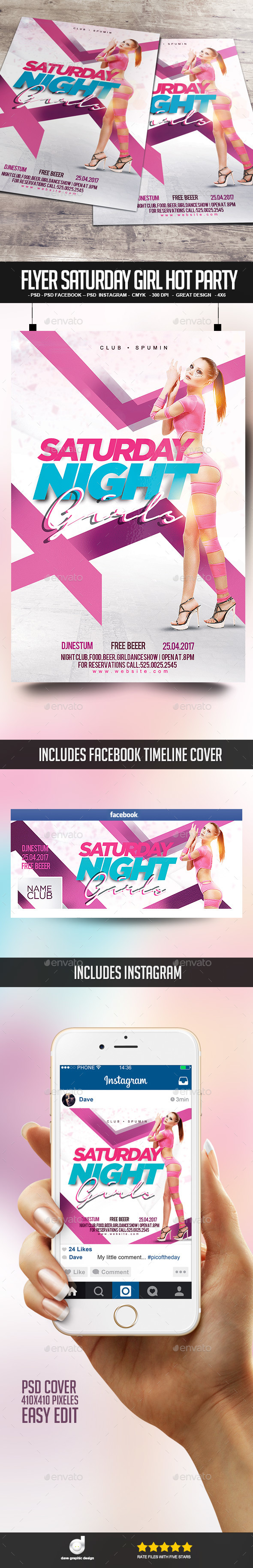 Flyer Saturday Girl Hot Party - Clubs & Parties Events