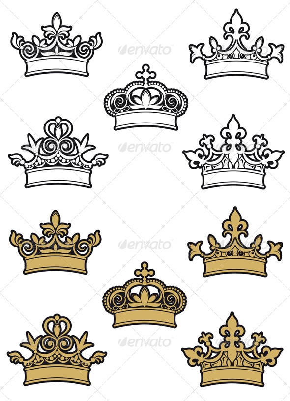 Heraldic crowns - Decorative Vectors