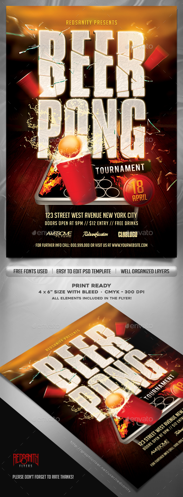 Beer Pong Tournament Flyer Template by Redsanity | GraphicRiver