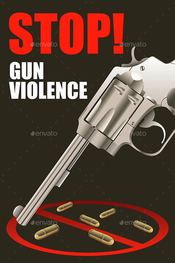 Stop Gun Violence Poster - Conceptual Vectors