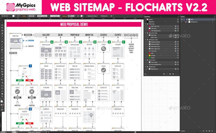 Web Sitemap - Flowcharts V2.0 By MyGpics