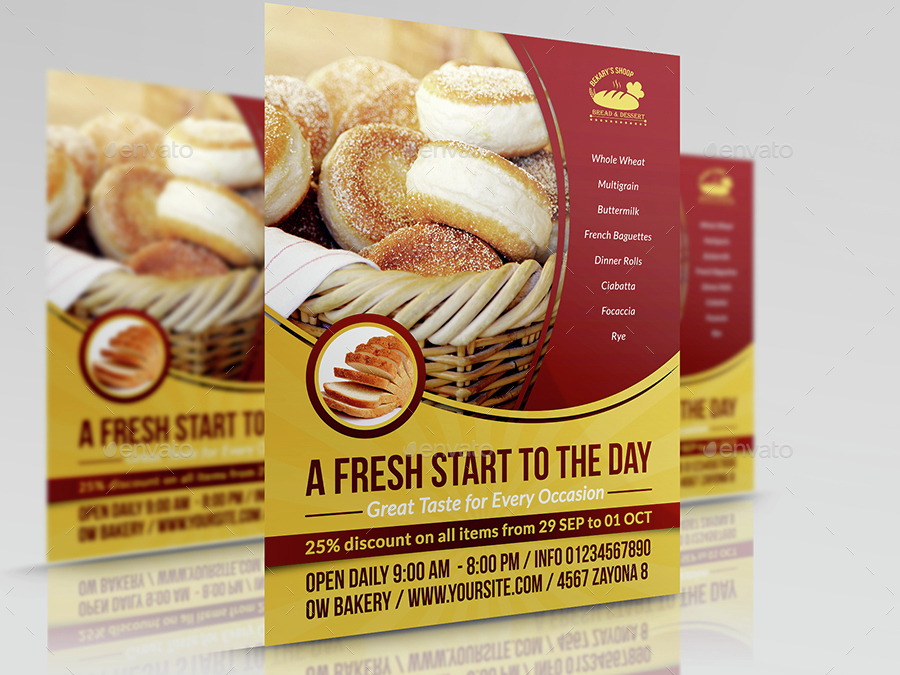Bakery Flyer Template Vol By OWPictures GraphicRiver - Bakery flyer templates free