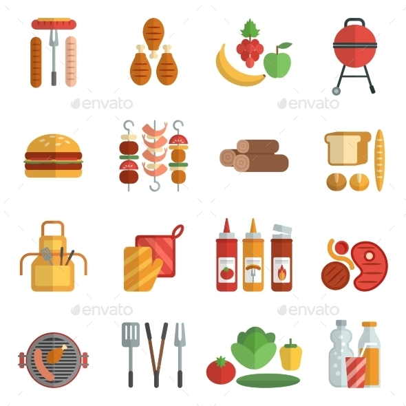 Bbq Party Flat Icons Set - Food Objects