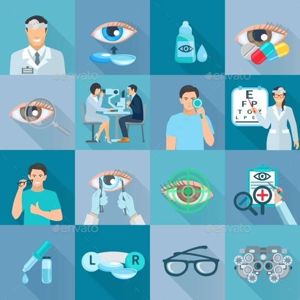 Oculist Ophthalmologist Flat Icons Set - Miscellaneous Icons