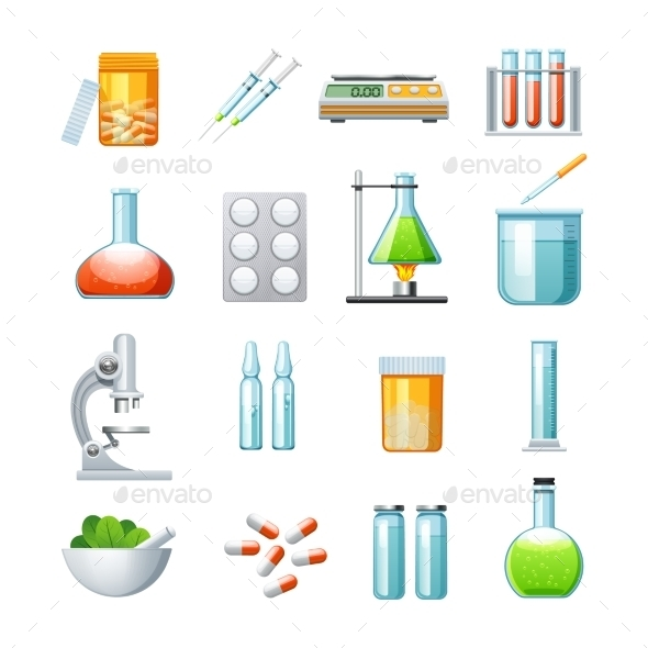 Pharmacology Flat Icons Collection - Objects Icons