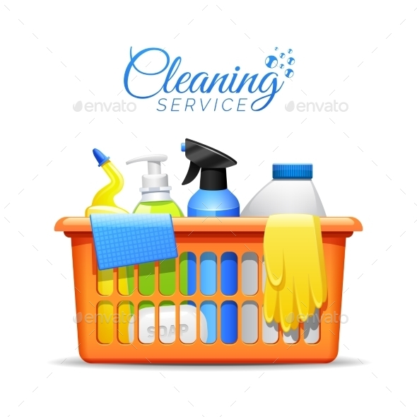 Household Cleaning Products In Basket Illustration - Objects Vectors