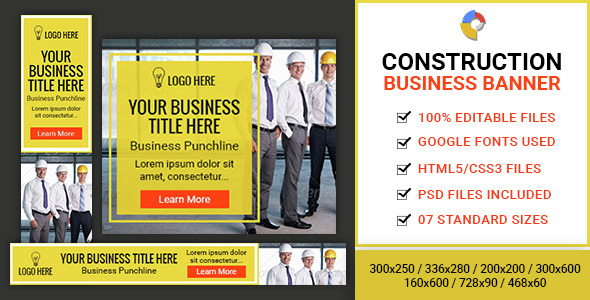 GWD | Construction Business HTML5 Banners - 07 Sizes - CodeCanyon Item for Sale