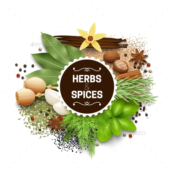Illustration Of Set With Herbs And Spices - Food Objects