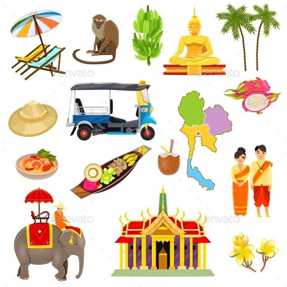 Thailand Icons Set - Travel Conceptual