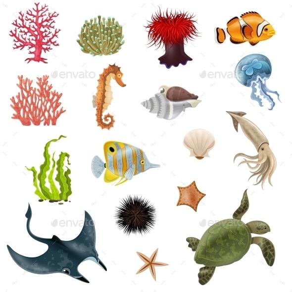 Sea Life Cartoon Icons Set - Animals Characters