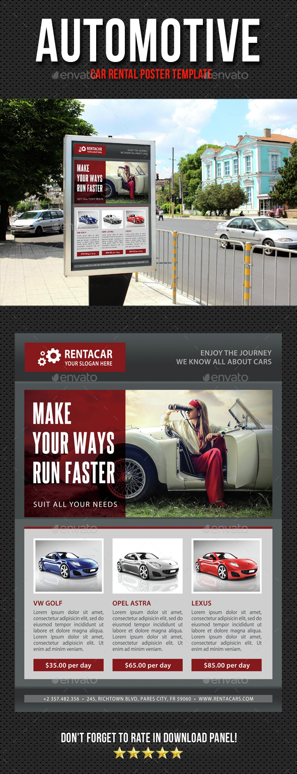 Automotive Car Rental Poster Template V02 - Signage Print Templates