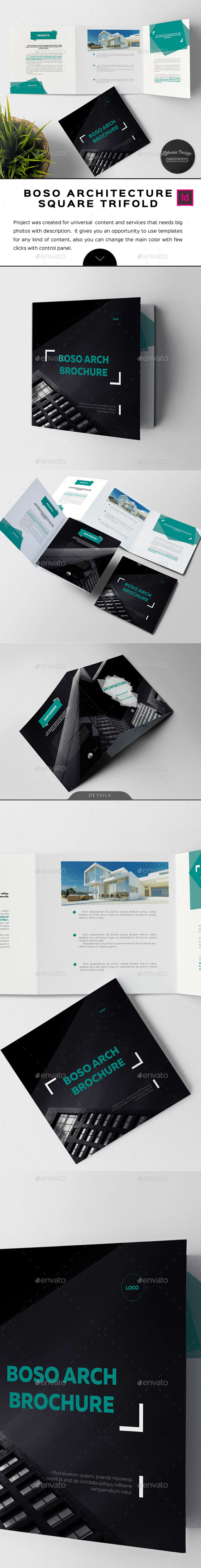 Boso Square Architecture Trifold Brochure - Corporate Brochures