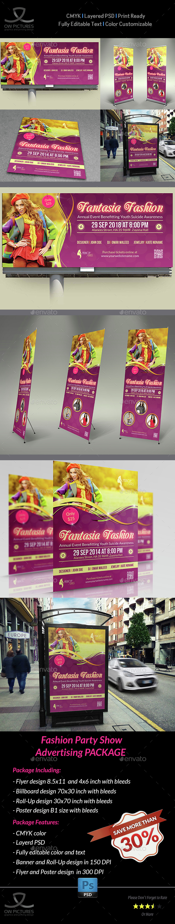 Fashion Show Party Advertising Bundle - Signage Print Templates