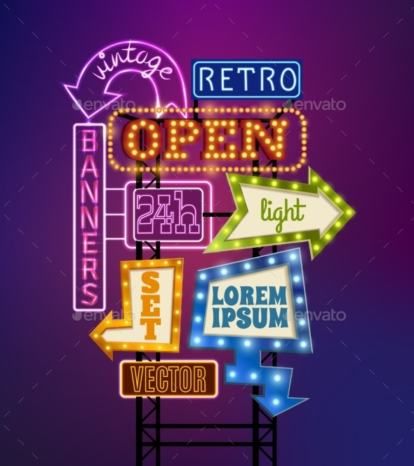 Retro Signboard Illustration  - Concepts Business