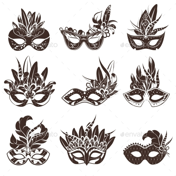 Mask Black and White Icons Set  - Man-made Objects Objects