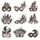 Mask Black and White Icons Set