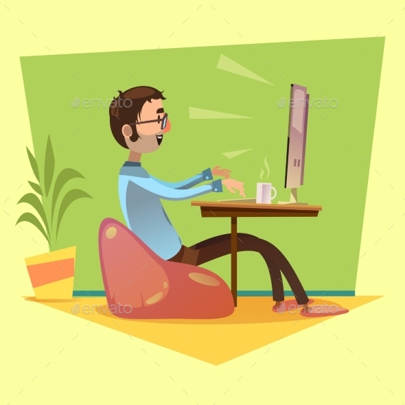Programmer Working Illustration  - Concepts Business