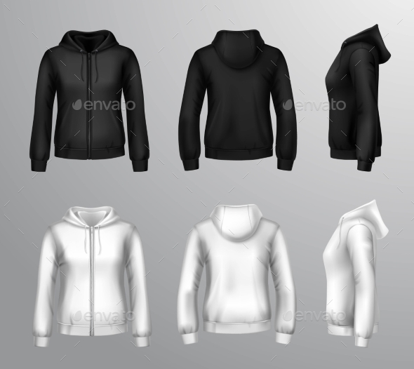 Women Black and White Hooded Sweatshirts - Decorative Symbols Decorative
