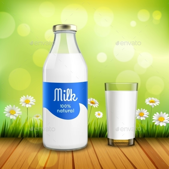 Bottle and Glass of Milk - Backgrounds Decorative