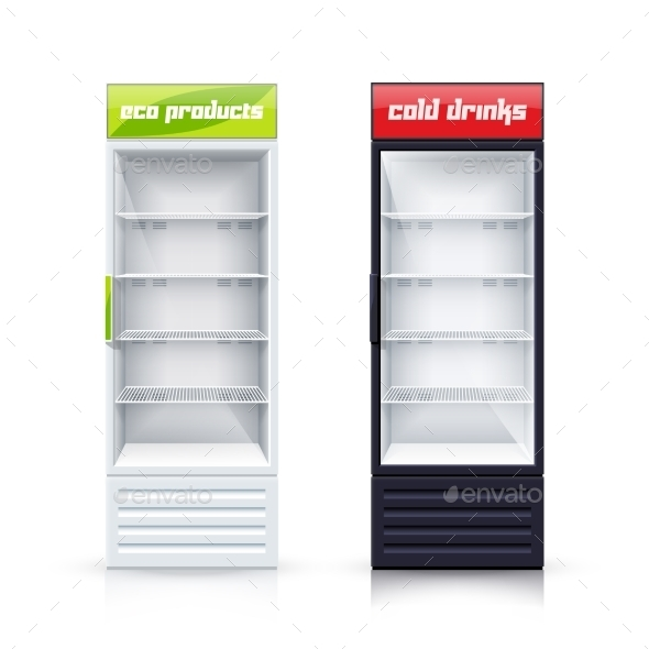 Two Empty Fridges Realistic Illustration - Man-made Objects Objects