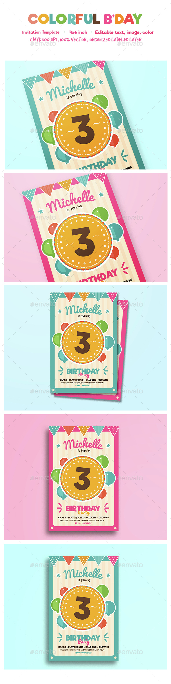 Colorful birthday invitation - Birthday Greeting Cards
