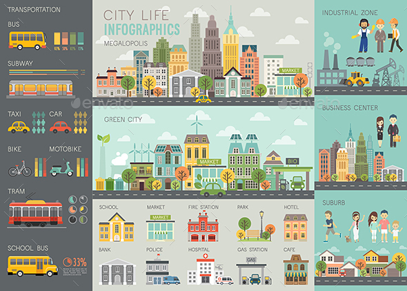 City Life Infographic - Buildings Objects