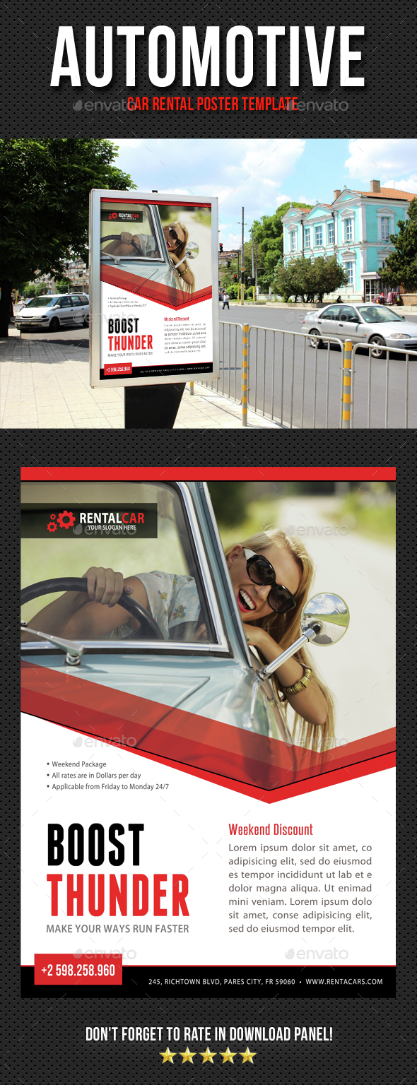Automotive Car Rental Poster Template V03 - Signage Print Templates