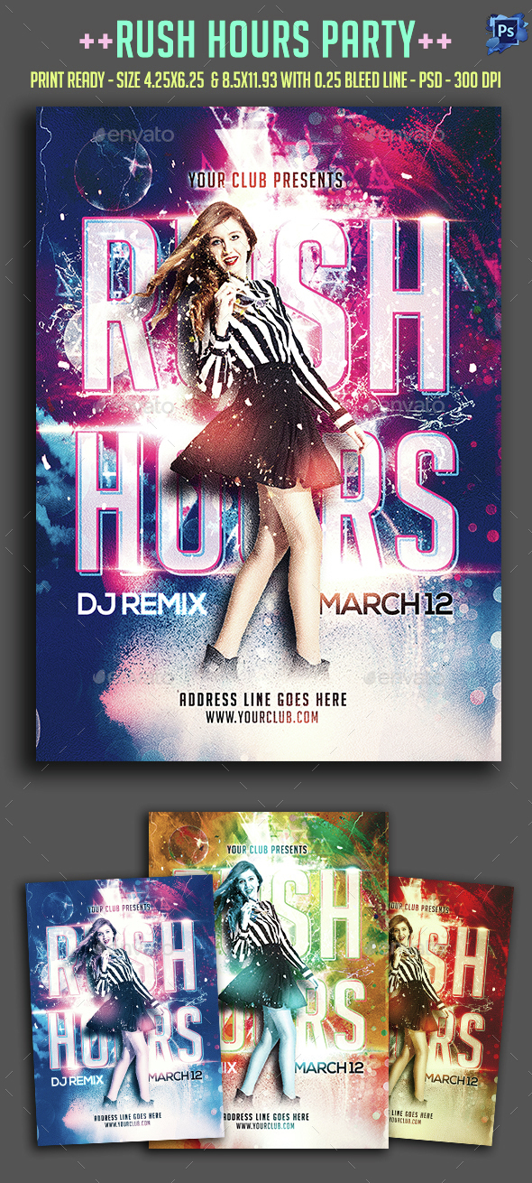 Rush Hours Party Flyer  - Clubs & Parties Events