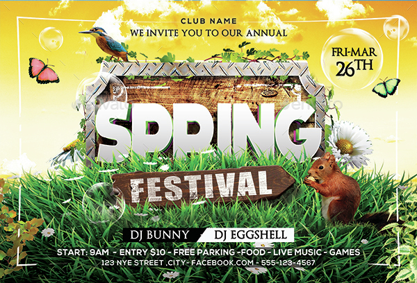 Spring Party Flyer. Spring Break Flyer Template Spring Break Party