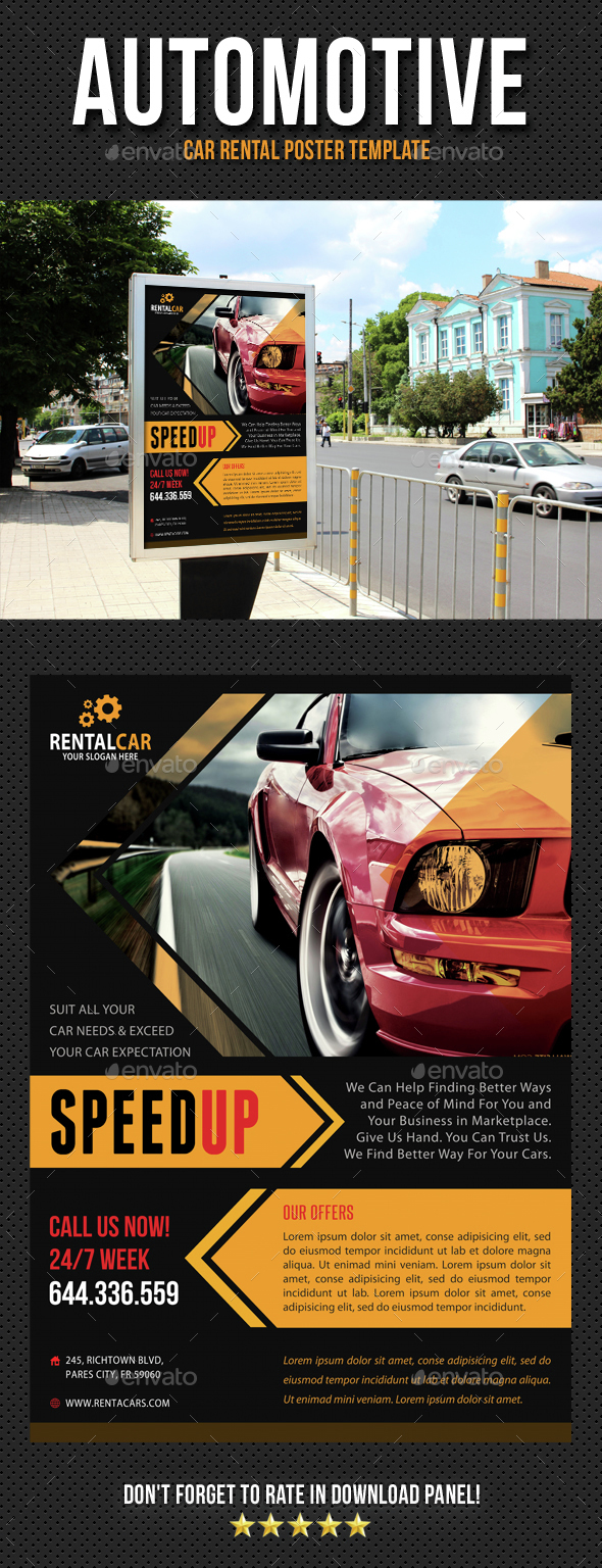 Automotive Car Rental Poster Template V05 - Signage Print Templates