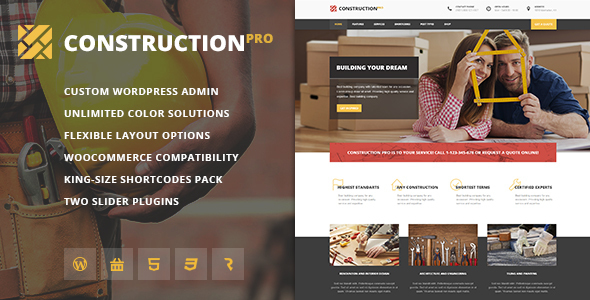 Construction PRO - Building and Renovation Services Construction WordPress Theme - Business Corporate