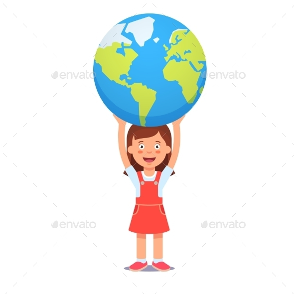 Girl Holds Planet Earth Over Head - People Characters