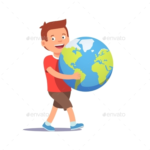 Young Boy Kid Carrying Holding Planet Earth - People Characters