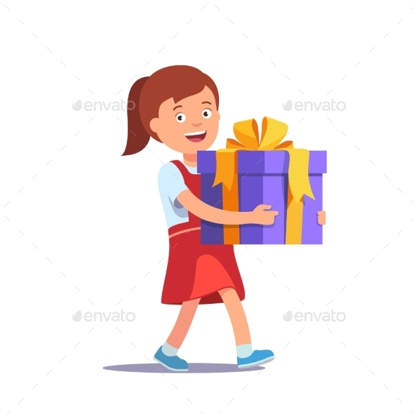 Girl Holding Big Ribbon Bow Wrapped Gift Box - Christmas Seasons/Holidays
