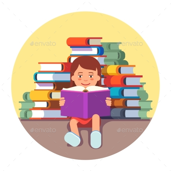 Girl Sitting and Reading a Book - People Characters
