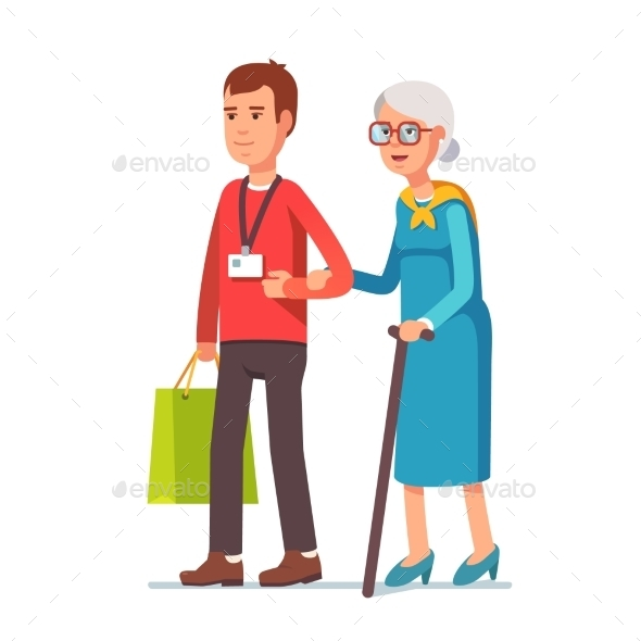 Man Social Worker Helping Elder Grey Haired Woman - People Characters