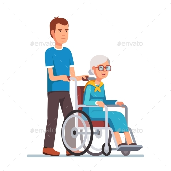 Man Strolling with His Grandmother in Wheelchair - People Characters