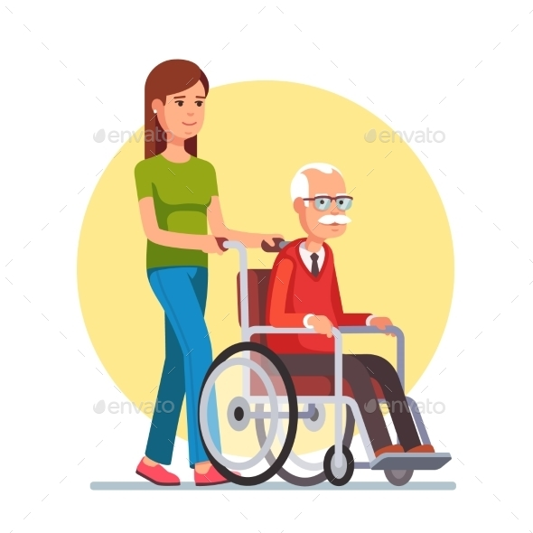 Woman Strolling with Elder Man in Wheelchair - People Characters