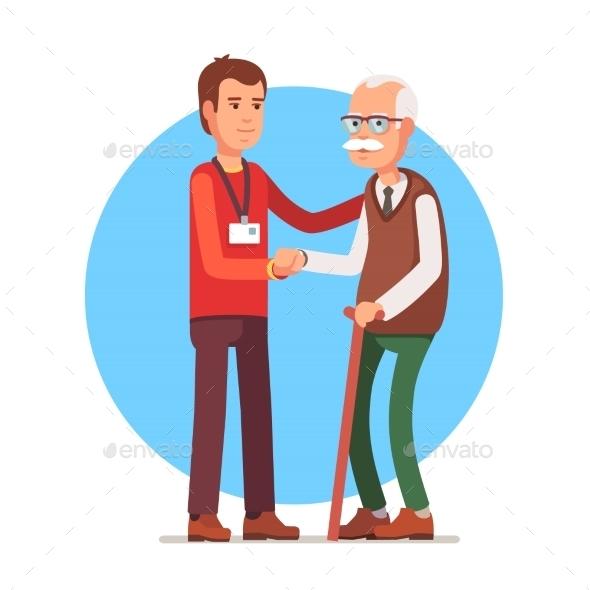 Social Worker Helping Elder Grey Haired Man - People Characters