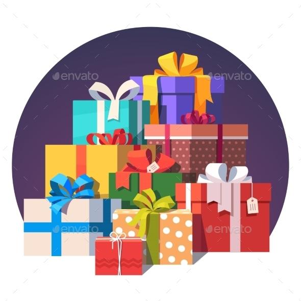 Big Pile of Colorful Wrapped Gift Boxes - Christmas Seasons/Holidays
