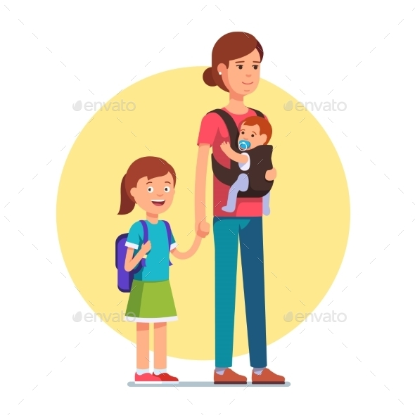Mother with Daughter in School and Infant Baby Son - People Characters