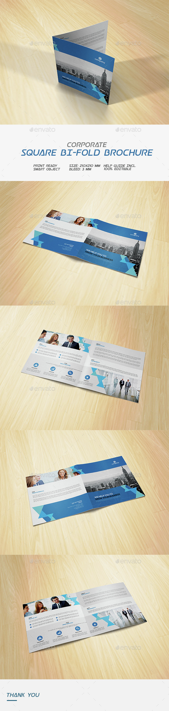 Square Corporate Bi-fold Brochure - Corporate Brochures