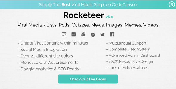 Rocketeer - Viral Media Lists, Polls, Quizzes, News, and Videos - CodeCanyon Item for Sale